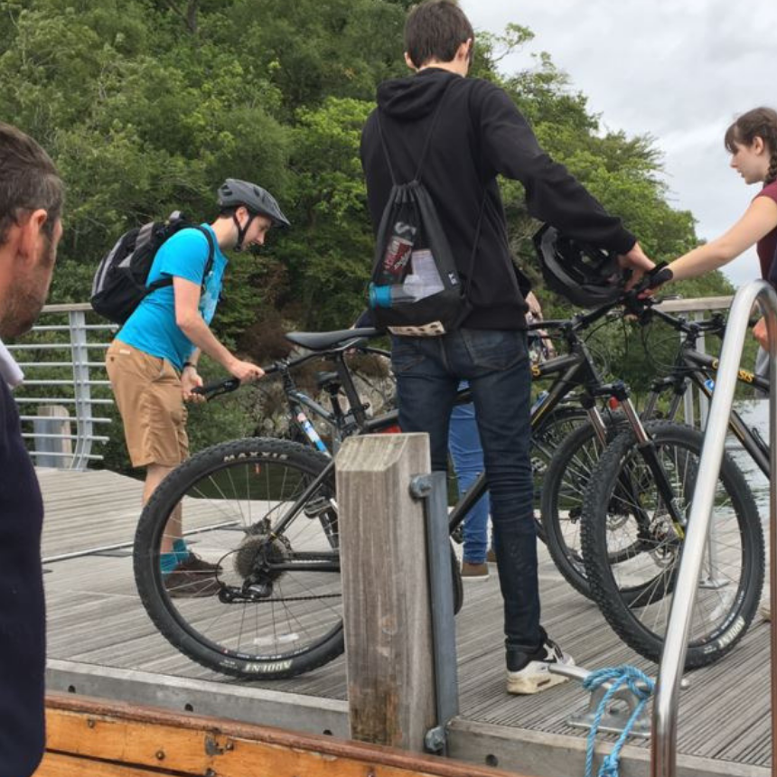 Cyclists disembarking at Brockhole